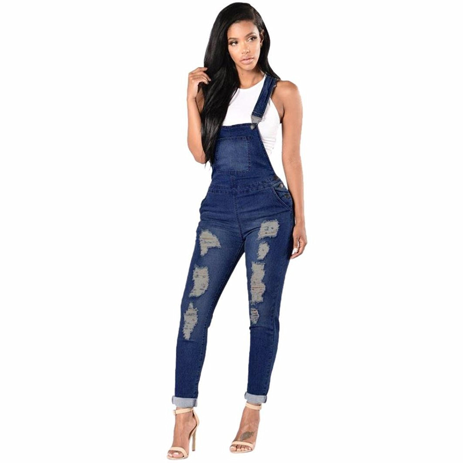 d6a6ad9b61d Greatgiftlist Women Stretchy Denim Bib Ribbed Hole Pants Overalls Jumpsuit  Romper Distressed Jeans