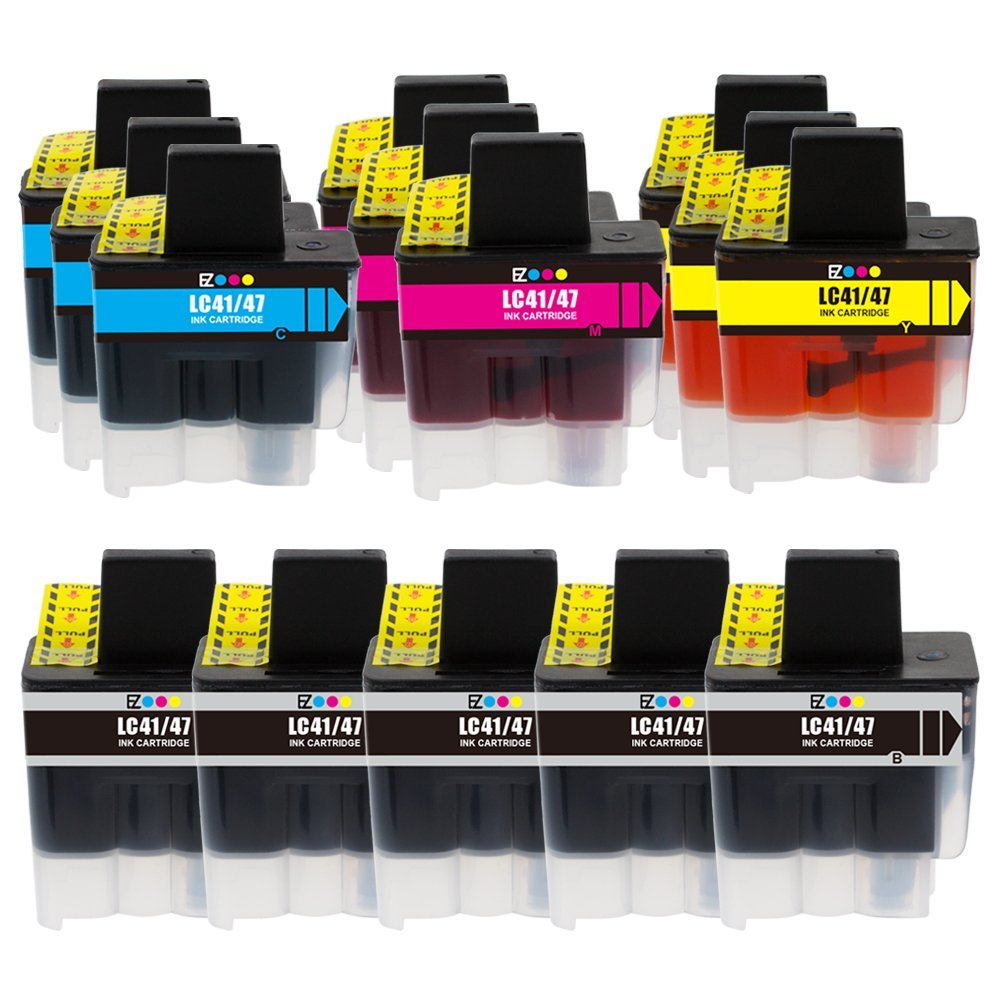 E-Z Ink (TM) Compatible Ink Cartridge Replacement for Brother LC-41 LC41 Series (5 Black, 3 Cyan, 3 Magenta, 3 Yellow) 14 Pack LC41BK LC41C LC41M LC41Y for Intellifax 1840C 1940CN 2440C MFC-820CW