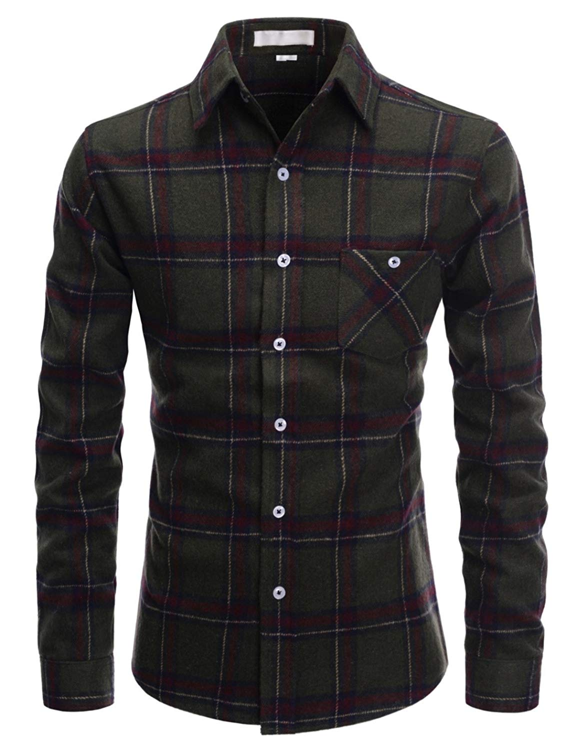 Alion Mens Classic Long Sleeve Plaid Flannel Casual Shirts Checked Button Down Shirts Yellow L