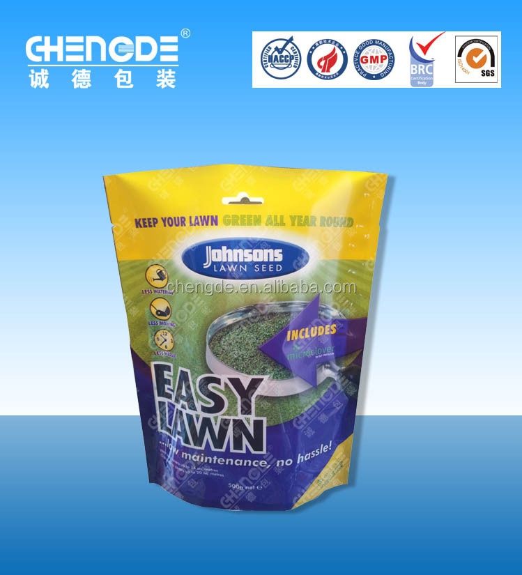 Agricultural high quality plastic pouch / lawn protective packaging bag