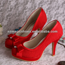 Red Lace High Heel Wedding Bridal Shoes