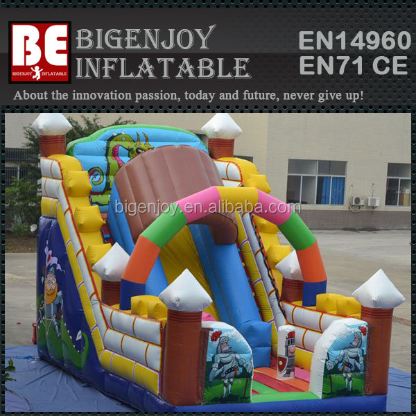 new inflatable game products huge fantastic inflatable slides Cavalier Corlorful inflatable slide with cartoon printing
