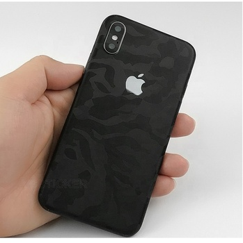 Phone Accessories 3M Black Camouflage with 3D Texture Full Edge Coverage Vinyl Skin Sticker for iPhone X