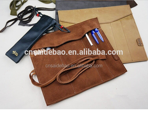 High Quality Men&lady Pen Bag, Big Capacity Crazy Corse Leather Pen Bag
