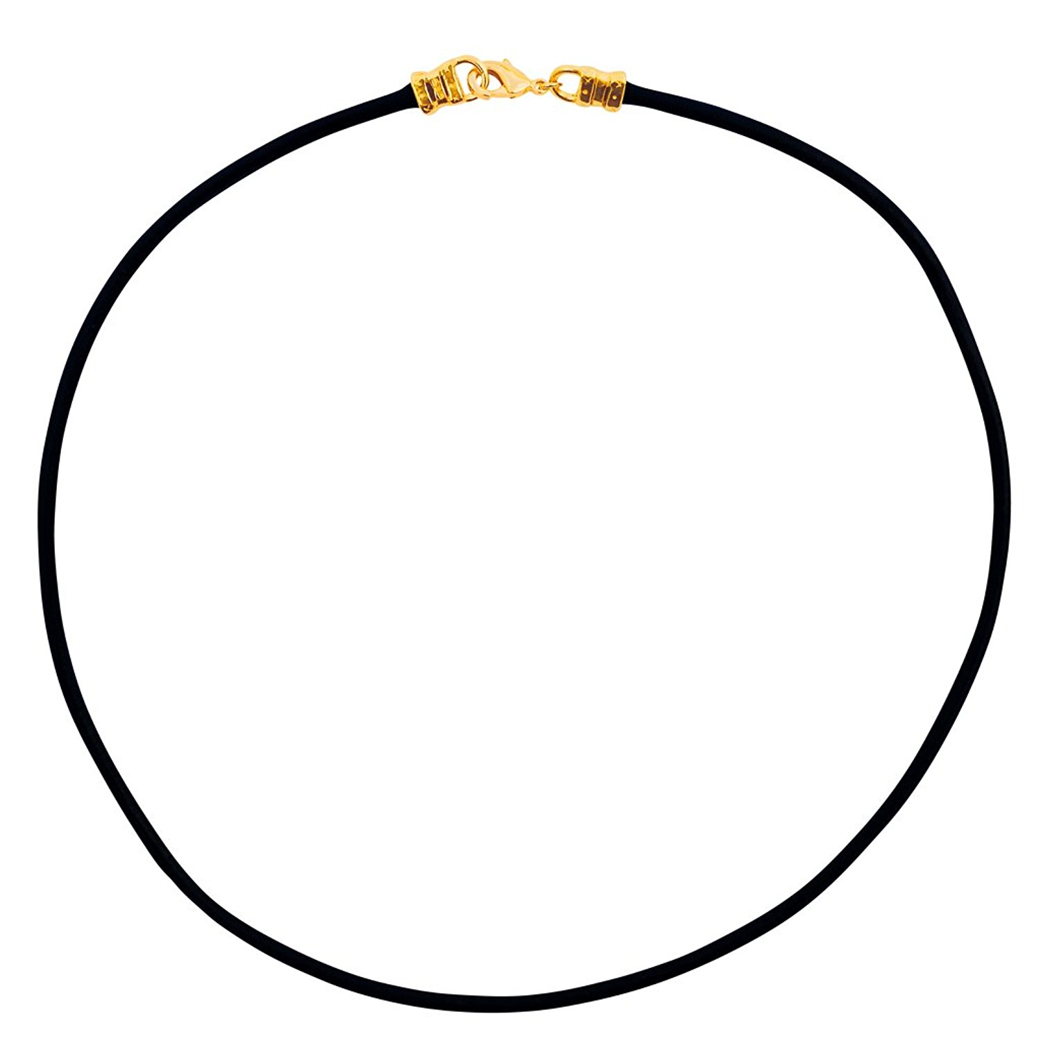 DragonWeave Gold Plated 3mm Thick Black Leather Cord Necklace