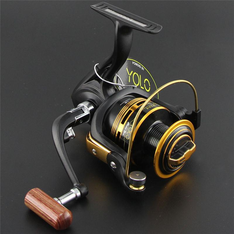 High Quality MS Metal Spool Metal Handle 10BB 5.1:1 Metal Spinning Fishing Reel Carp Fishing Wheel Spinning Reel, Black with golden