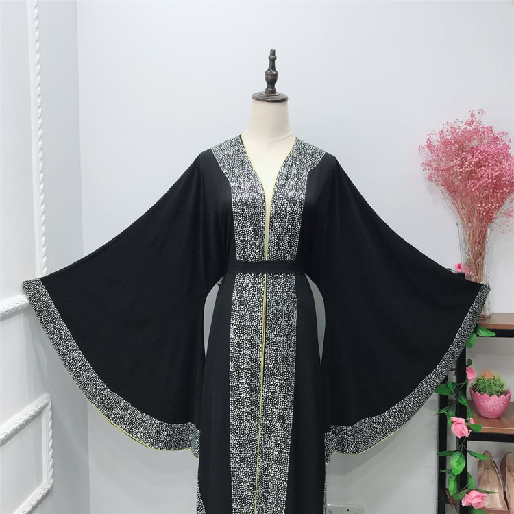 2019 new design beautiful crepe with stone work muslim women dress turkey abaya
