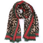 Ladies women's lightweight floral print mixture shawl cotton blended leopard scarf