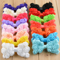 Large shabby chiffon rose bow - wholesale chiffon hair bow supplies