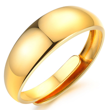 18K Gold Wedding Engagement Rings Adjustable Copper Alloy Gold Smooth Men Rings