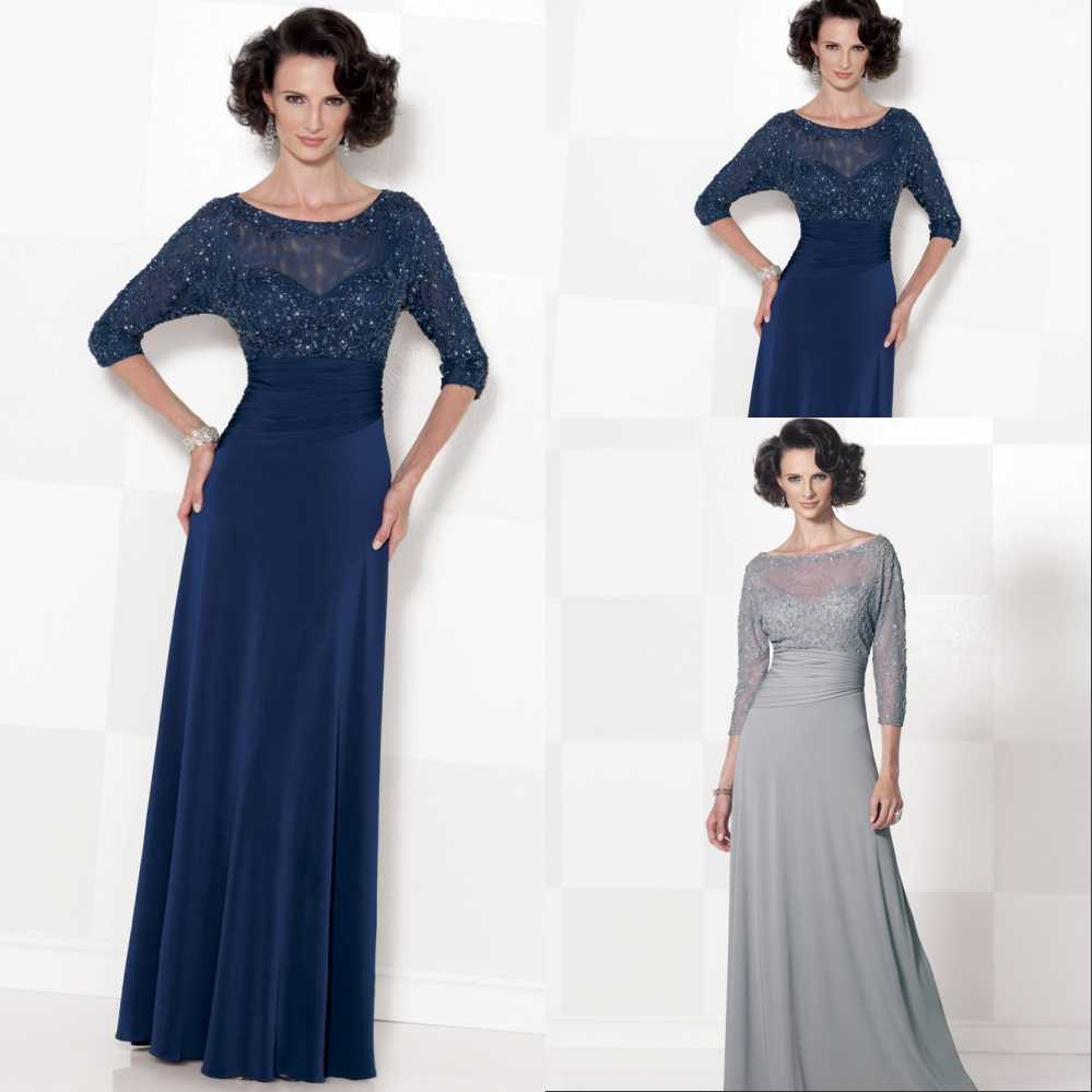 Plus Size Mother Bride Dresses: Gray A Line Plus Size Mother Of The Bride Dresses 2016 3/4