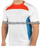 Men's customized white , red and royal blue cut and sewn round neck polyester coolmax sports tennis shirt
