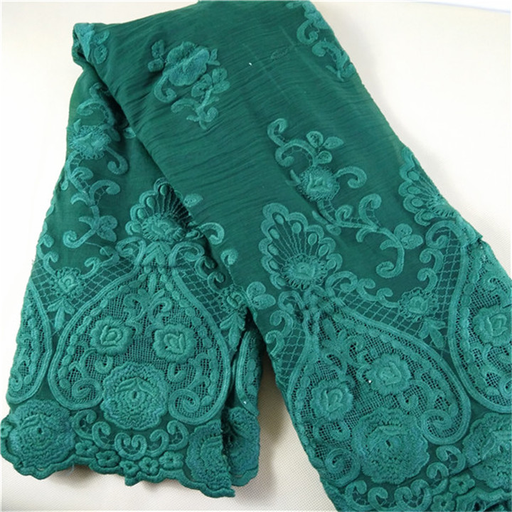 2018 Peacock green embroidery cotton Lace fabric indian george lace fabric wholesale