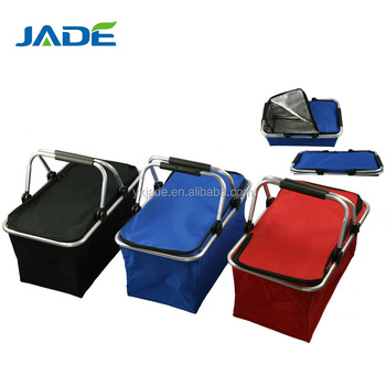 Super cheap double handles thermal folding storage shopper basket,cooler bag picnic basket as seen on TV