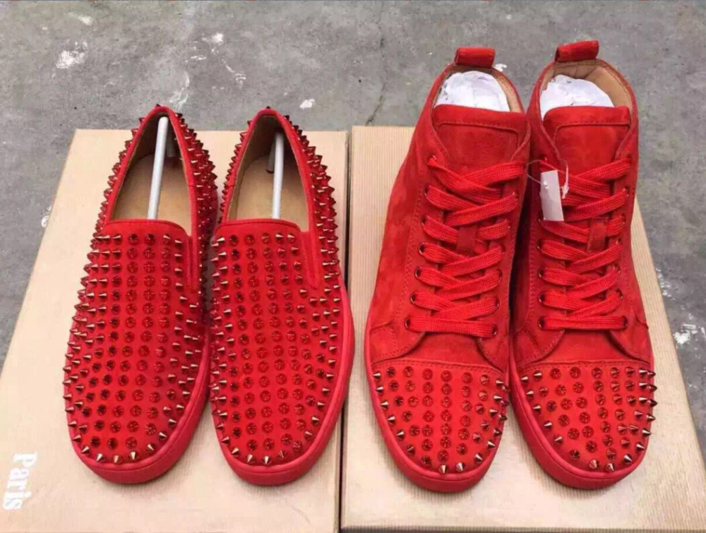 Red Spiked Loafers For Men Pink Louboutins Shoes