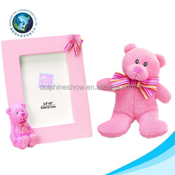 2015 New Product Pink Teddy Bear Love Photo Picture Frame Plush Baby ...