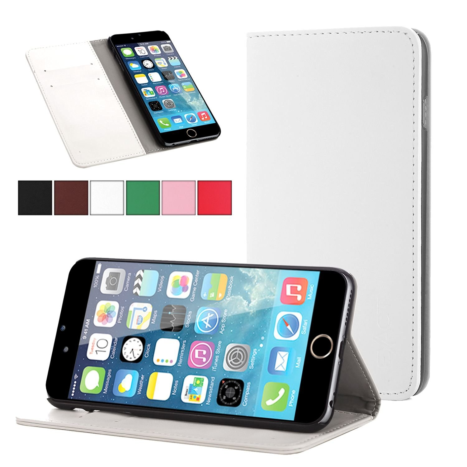 iPhone 6 Plus Case - Exact Apple iPhone 6 Plus 5.5 Case [BillFOLD Series] - PU Leather Wallet Flip Cover Case for Apple iPhone 6 Plus (5.5-inch)White