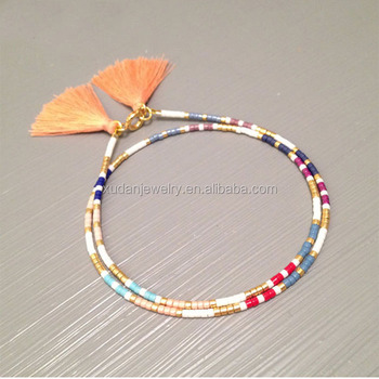 Anese Beaded Friendship Bracelets Hand Woven Pendant Tel Double Wrap Small Seed Beads