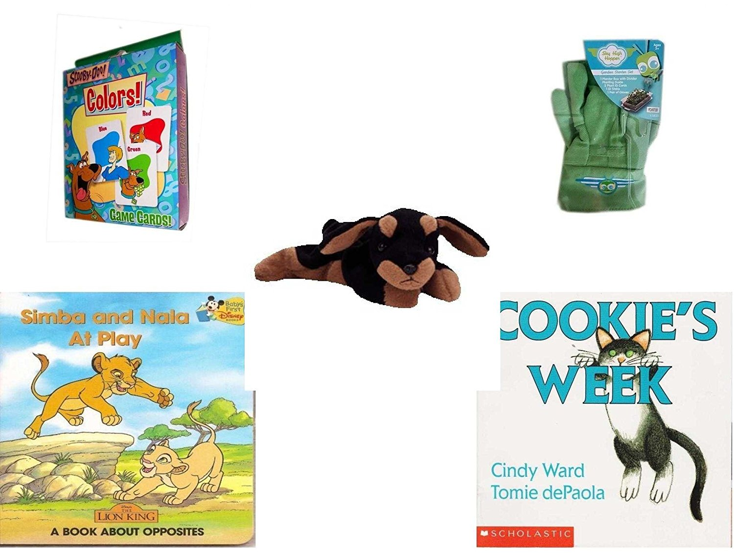 Children's Gift Bundle - Ages 3-5 [5 Piece] - Transformers Rescue Bots Memory Game - Sky High Hopper Garden Starter Set - Ty Beanie Baby - Doby the Doberman - Simba and Nala At Play: A Book About Op