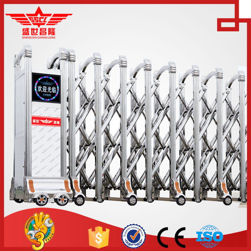 electric automatic stainless steel sliding folding driveway gate for government used-J1336