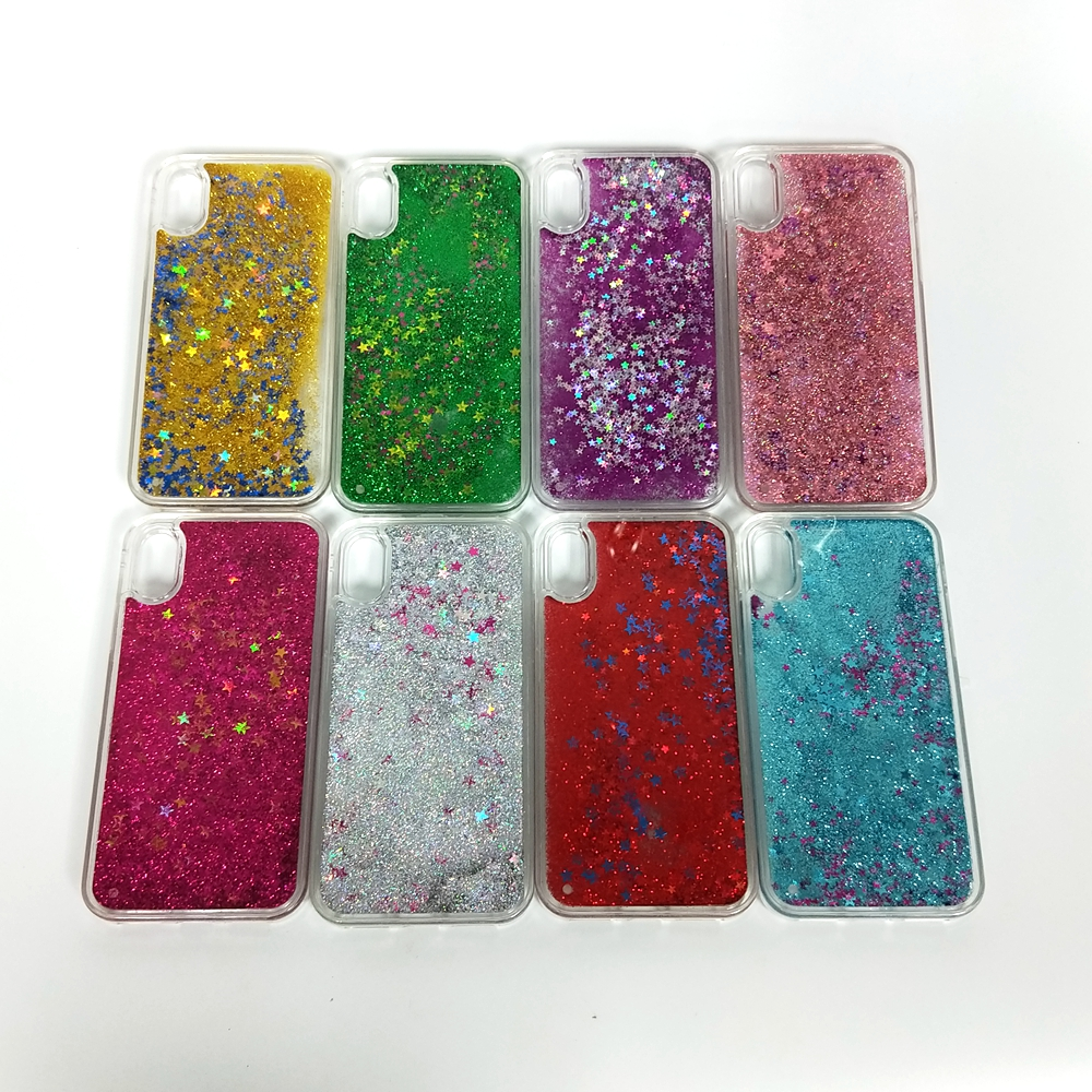 Transparent Plastic Bling Back Cover Glitter Star Liquid Cell Phone Cases for iPhone 6 7 8 X