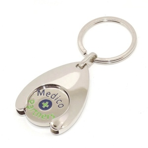 Promotional water drop customized trolley keychain shopping coin keychain
