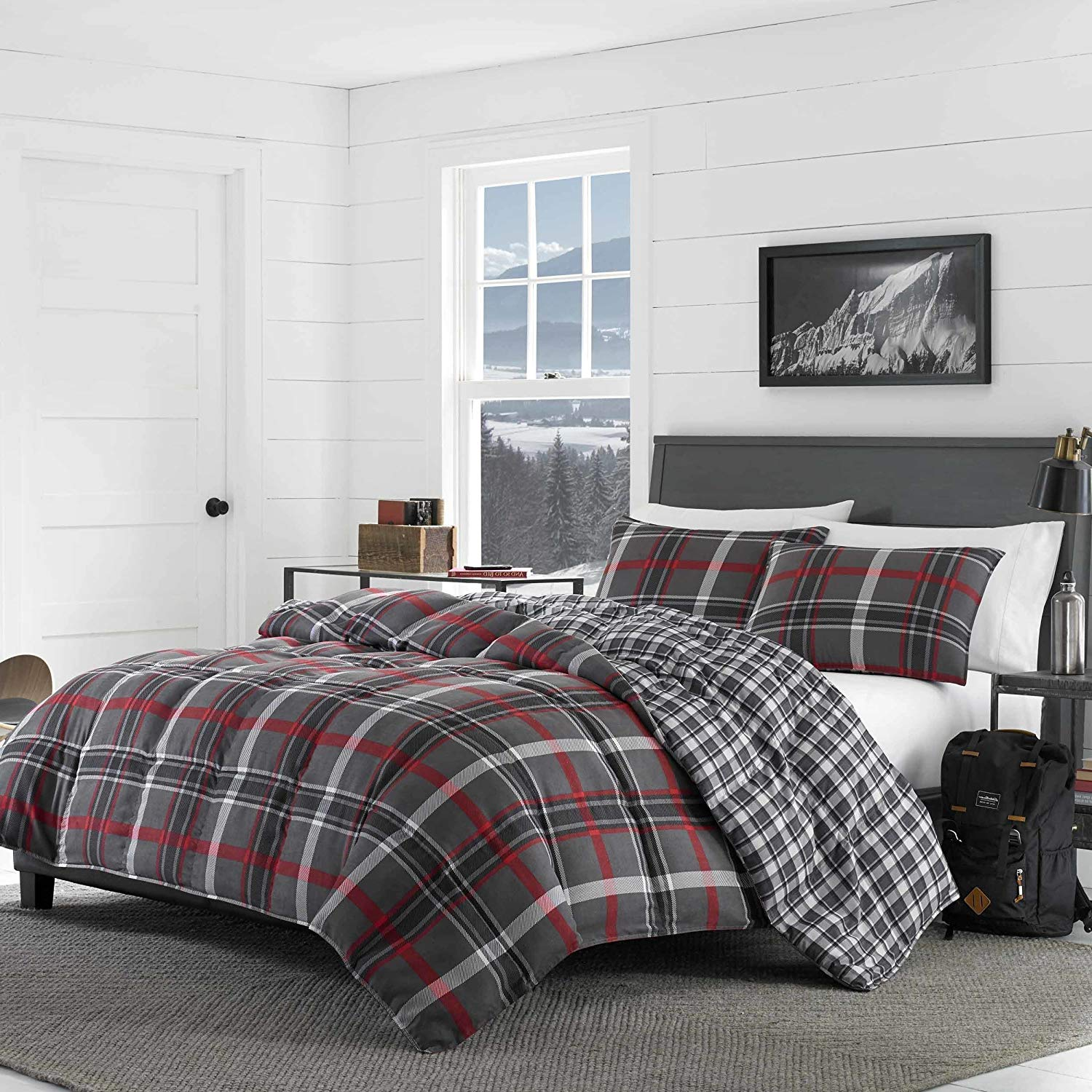 3 Piece Red Grey Plaid Comforter King Set, Gray Checked Bedding Cabin Themed Lodge Lumberjack Pattern Country Hunting Black White Medium Warmth Patchwork, Reversible Cotton Polyester