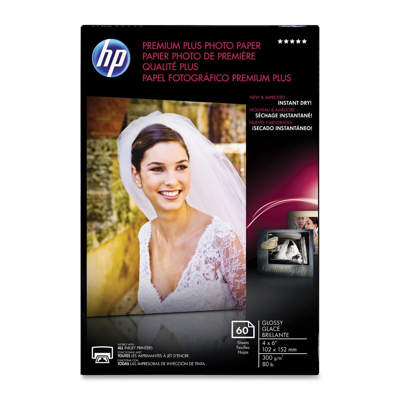 HP Premium Plus Photo Paper, Glossy, 4x6, 60 Sheets (CR665A)
