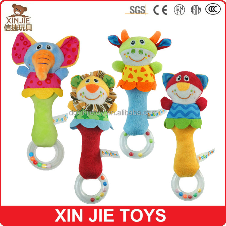customize plush baby rattles toy cute animal shape soft baby rattles with transparent ring