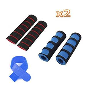 SODIAL(R) 2 Pairs Bike Bicycle Anti Slip Sponge Handlebar Grip-(Black/Blue+Black/Red) +Free Cable Tie