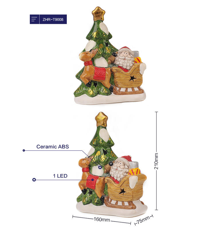 Ceramic Miniature Houses LED Light Up House Christmas Decoration Light With Battery