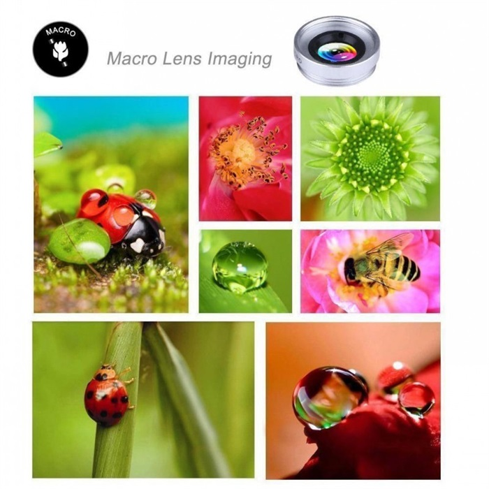 3 in 1 Phone lens - Fisheye Wide Angle Macro Lens Kit for iPhone 6 x 8 Mobile Phone