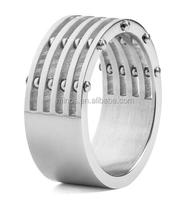 Men's Stainless Steel Brushed Finish 5-Layer Split Ring with Bolt Accents