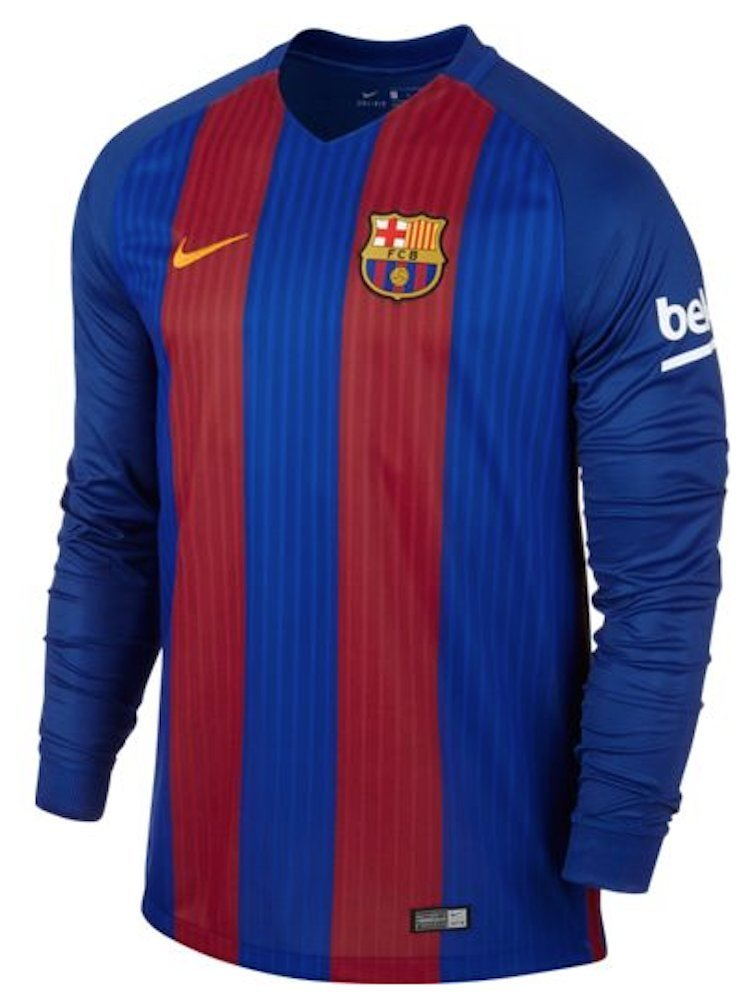 cab8979370b Get Quotations · Nike Men's Barcelona Home Long Sleeve Home Soccer Jersey  2016/2017 (Blue, ...