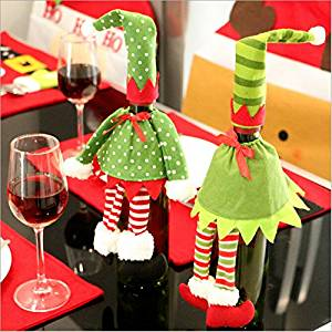 Creamily 2pcs/set Cute Elf Wine Bottle Cover Party Christmas Table Decoration Wine Bottle Cover Bags