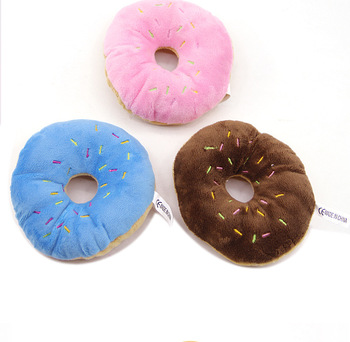 13Cm Sightly Pet Chew Cotton Donut Play Toys Lovely Pet Dog Puppy Cat Tugging Chew Squeaker Quack Sound Toy Chew Donut Play Toys