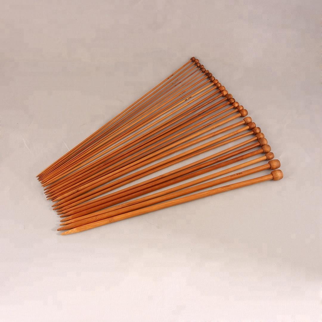 18Sizes 40 120Cm Rohr Rund Carbonized Bambus Stricknadel Set