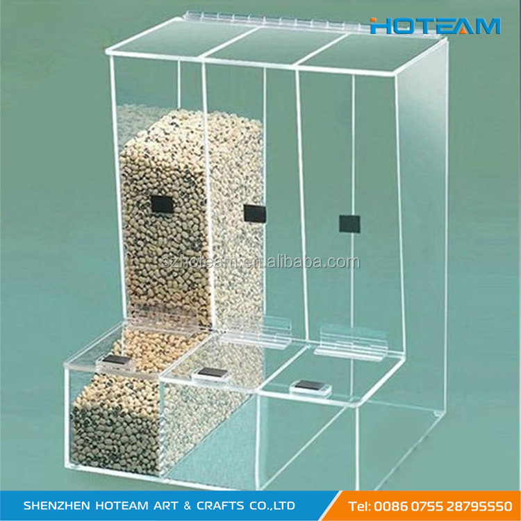Transparent Food Grade 3 Compartment Acrylic Candy Bin For Candy Store