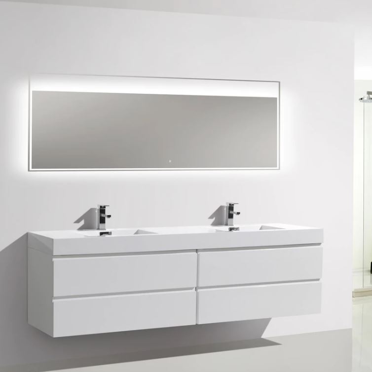 Flat Pack American Cheap Single Solid Wood White Bathroom