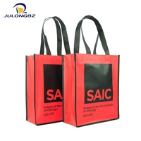 Promotional red folding tote recycled pp non woven shopping bag