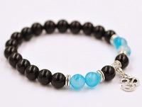 Fashion Jewelry Black Onyx Round Bead With Blue Agate Stretch Bracelet For Women