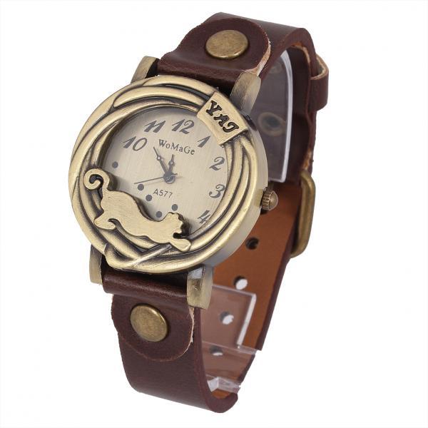 Старинные женщин конструкции кофе кожаный ремешок браслет часов кварцевые наручные часы бесплатная доставка
