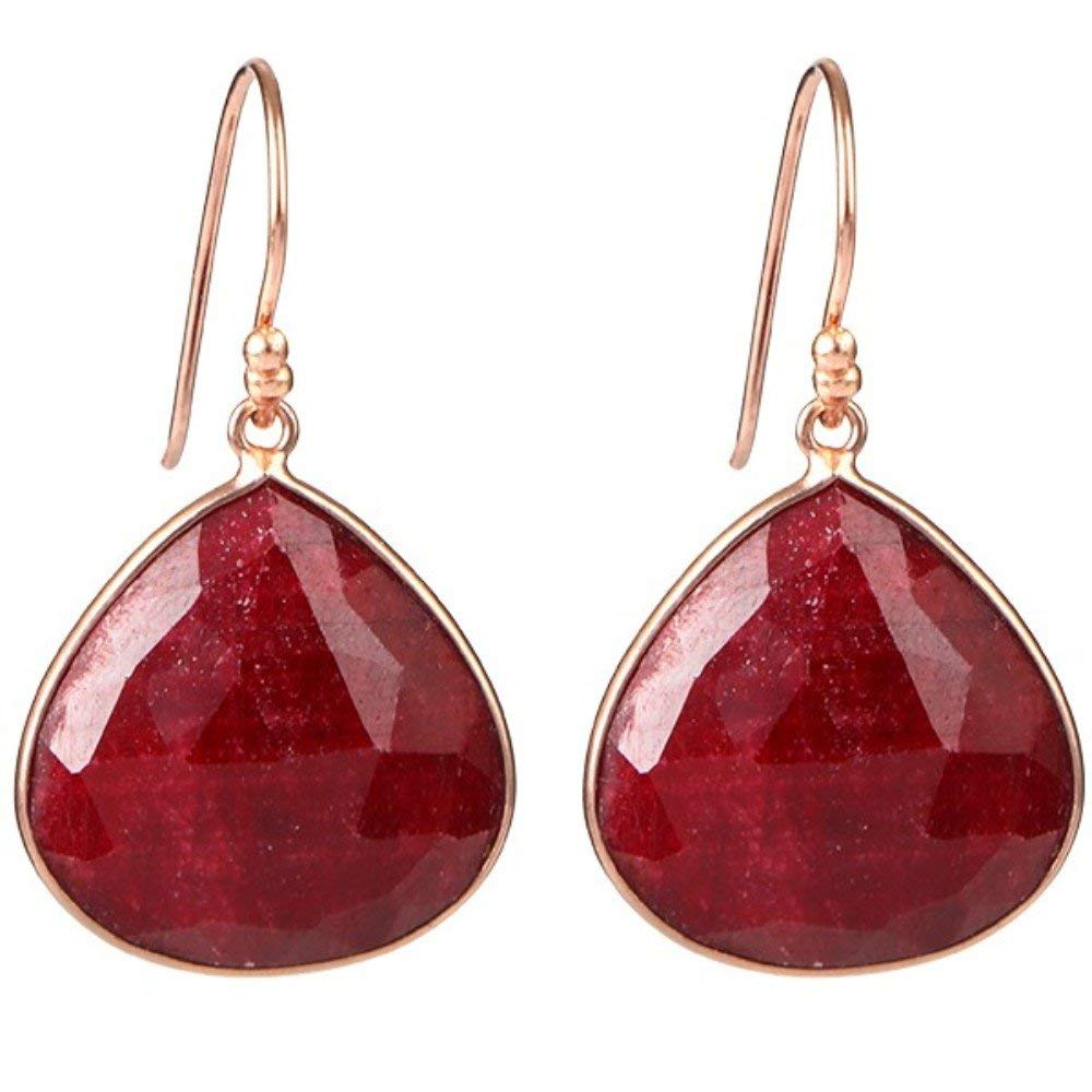 Beautiful and colorful earrings red ruby gemstones