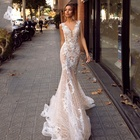 Gorgeous Mermaid Wedding Gown Embroidered Floral Lace Bridal Dresses Sexy V-Neck Backless Wedding Dress 2019 robe de mariage