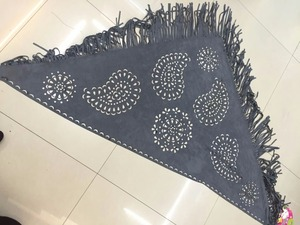 laser cut paisley triangular suede shawl new fashion summer lady suede shawl with tassel