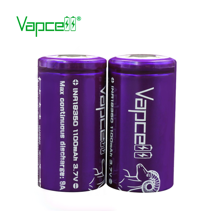 Vapcell 1100mAh 9A li-ion battery inr18350 rechargeable batteries for vape/tool