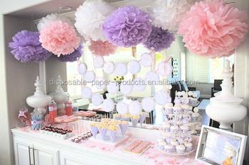 Princess party decor idea pink white purple pompom wedding party princess party decor idea pink white purple pompom wedding party hanging tissue paper pom pom flowers mightylinksfo