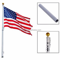 High quality outdoor square not rust 6M 20ft aluminum telescoping automatic raise flag pole