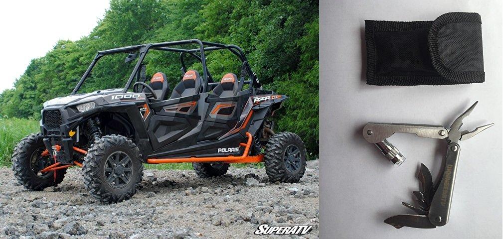 Bundle 2 Items: WHITE ALUMINUM!!! SuperATV Polaris RZR 4 900/1000 Rock Sliding Nerf Bars and Free Unhinged ATV multi-tool
