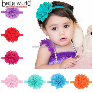 Hollow out Flower Headband For Kids Grenadine Big Hair Ribbons Elastic Force hair accessories